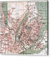 Map Of Copenhagen 1888 Canvas Print