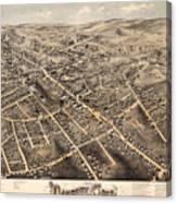 Map Of Danbury 1875 Canvas Print