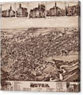 Map Of Dover 1885 Canvas Print