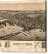 Map Of Duluth 1893 Canvas Print