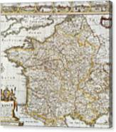 Map Of France, 1627 Canvas Print