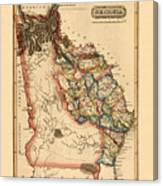 Map Of Georgia 1817 Canvas Print