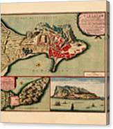 Map Of Gibraltar 1706 Canvas Print