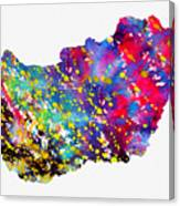 Map Of Hungary-colorful Canvas Print