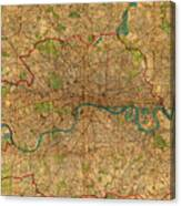 Map Of London England United Kingdom Vintage Street Map Schematic Circa 1899 On Old Worn Parchment  Canvas Print