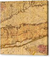 Map Of Long Island New York State In 1842 On Worn Distressed Canvas  Canvas Print