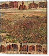 Map Of Los Angeles 1891 Canvas Print