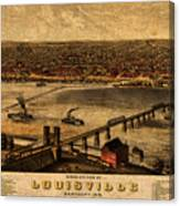 Map Of Louisville Kentucky Vintage Birds Eye View Aerial Schematic On Old Distressed Canvas Canvas Print