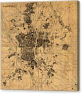 Map Of Madrid Spain Vintage Street Map Schematic Circa 1943 On Old Worn Parchment  Canvas Print