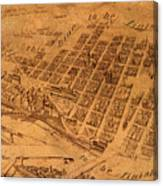 Map Of Minneapolis Minnesota Vintage Birds Eye View Aerial Schematic On Old Distressed Canvas Canvas Print