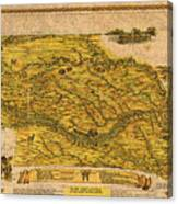 Map Of Nebraska 1954 Omaha Cornhusker State Aerial View Illustration Cartography On Worn Canvas Canvas Print