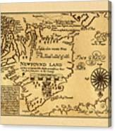 Map Of Newfoundland 1625 Canvas Print