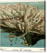 Map Of Panama Canal 1881 Canvas Print