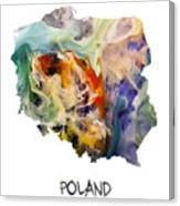 Map Of Poland Original Art Canvas Print