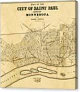 Map Of Saint Paul 1852 Canvas Print