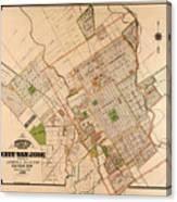 Map Of San Jose 1886 Canvas Print