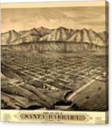 Map Of Santa Barbara 1877 Canvas Print