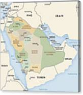 Map Of Saudi Arabia Canvas Print