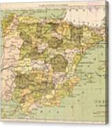 Map Of Spain Canvas Print