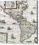 Map Of The Americas Canvas Print