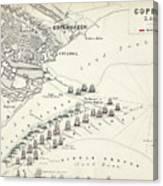 Map Of The Battle Of Copenhagen Canvas Print