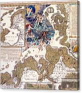 Map Of The Christmas Flood Of 1717 Canvas Print