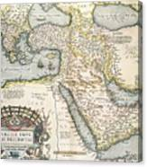 Map Of The Middle East From The Sixteenth Century Canvas Print