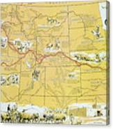 Map Of The Old Oregon Trail Canvas Print