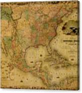 Map Of The United States 1849 Canvas Print