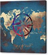 Map Of The World Wind Rose 4 Canvas Print
