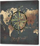 Map Of The World Wind Rose 5 Canvas Print