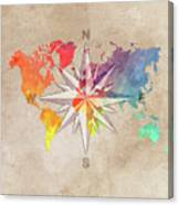 Map Of The World Wind Rose 7 Canvas Print