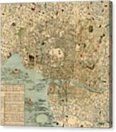 Map Of Tokyo 1854 Canvas Print