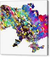 Map Of Ukraine-colorful Canvas Print