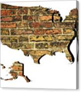 Map Of Usa And Wall. Canvas Print