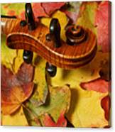 Maple Violin Scroll On Fall Maple Leaves Canvas Print