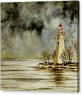 Marblehead Lighthouse In The Winter Canvas Print