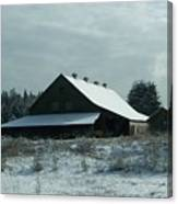 March Snows On The Barn Canvas Print