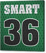 Marcus Smart Boston Celtics Number 36 Retro Vintage Jersey Closeup Graphic Design Canvas Print