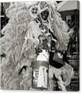 Mardi Gras Indian In Pirates Alley In Black And White Canvas Print