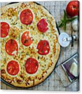 Margarita Pizza With Ingredients Canvas Print