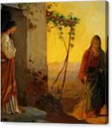 Maria Sister Of Lazarus Meets Jesus Who Is Going To Their House Canvas Print