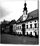 Maribor Square Black And White Canvas Print