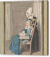 Marie Louise Petit At The Age Of 105, With Her Young Nurse Canvas Print