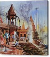 Marikarnika Ghat Varanasi Canvas Print
