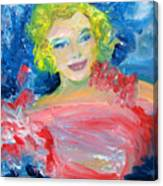 Marilyn Monroe In Pink And Blue Canvas Print