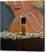 Marilyn With Chanel And Pearls Canvas Print