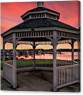 Marina Gazebo Sunset Canvas Print