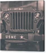 Marine Corps Jeep In Black And White Canvas Print