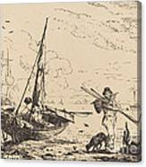 Marine: Fishing Boats On Shore, Man With Oars, Ship In Distance Canvas Print